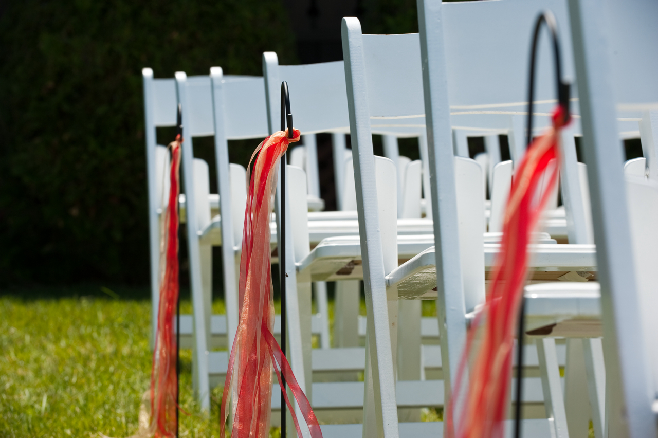 Ceremony, Flowers & Decor, red, gold, Outdoor, Ribbon, Aisle, Hooks, Shepherds