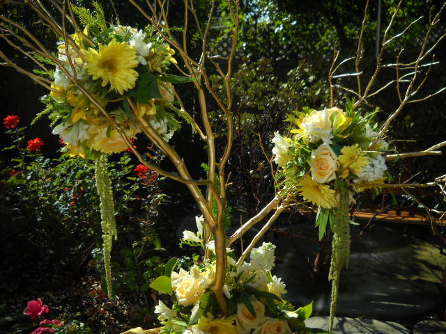 Ceremony, Reception, Flowers & Decor, white, yellow, pink, blue, green, silver, gold, Ceremony Flowers, Centerpieces, Flowers, Flower, Centerpiece, Branches, Book, Elegant, Rose, Tree, Guest, Inspiration board, Manzanita, Wishing, Poms