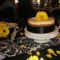 Reception, Flowers & Decor, Cakes, white, yellow, black, cake, Flowers