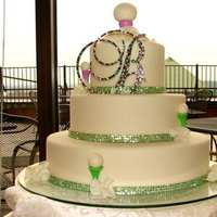 Reception, Flowers & Decor, Cakes, green, cake, Green crystal monogram topper, Green crystal banding