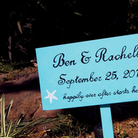 Ceremony, Flowers & Decor, blue, brown, Beach, Beach Wedding Flowers & Decor, Sign