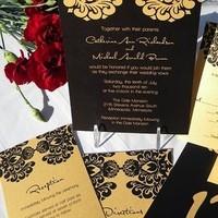 Stationery, black, gold, Invitations, Etsy