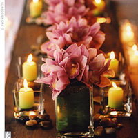 Reception, Flowers & Decor, pink, green, gold, Inspiration board
