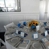 Reception, Flowers & Decor, Decor, white, yellow, blue, Centerpieces, Centerpiece