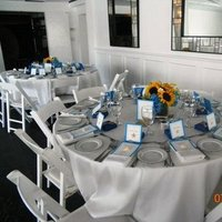 Reception, Flowers & Decor, white, yellow, blue, Table, Setting
