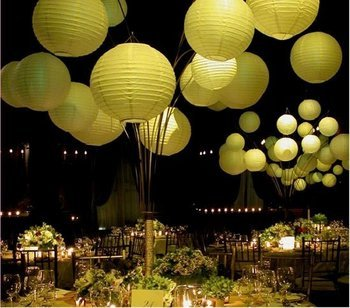 Reception, Flowers & Decor, green, gold, Centerpieces, Centerpiece, Lanterns
