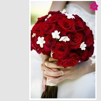 Flowers & Decor, white, red, Bride Bouquets, Flowers, Roses, Bouquet, Of