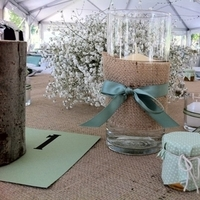 Reception, Flowers & Decor, green, Rustic, Candles, Rustic Wedding Flowers & Decor, Programs, Burlap, Outdoors, Sage, Vases, Mountain, Celedon, Celadon