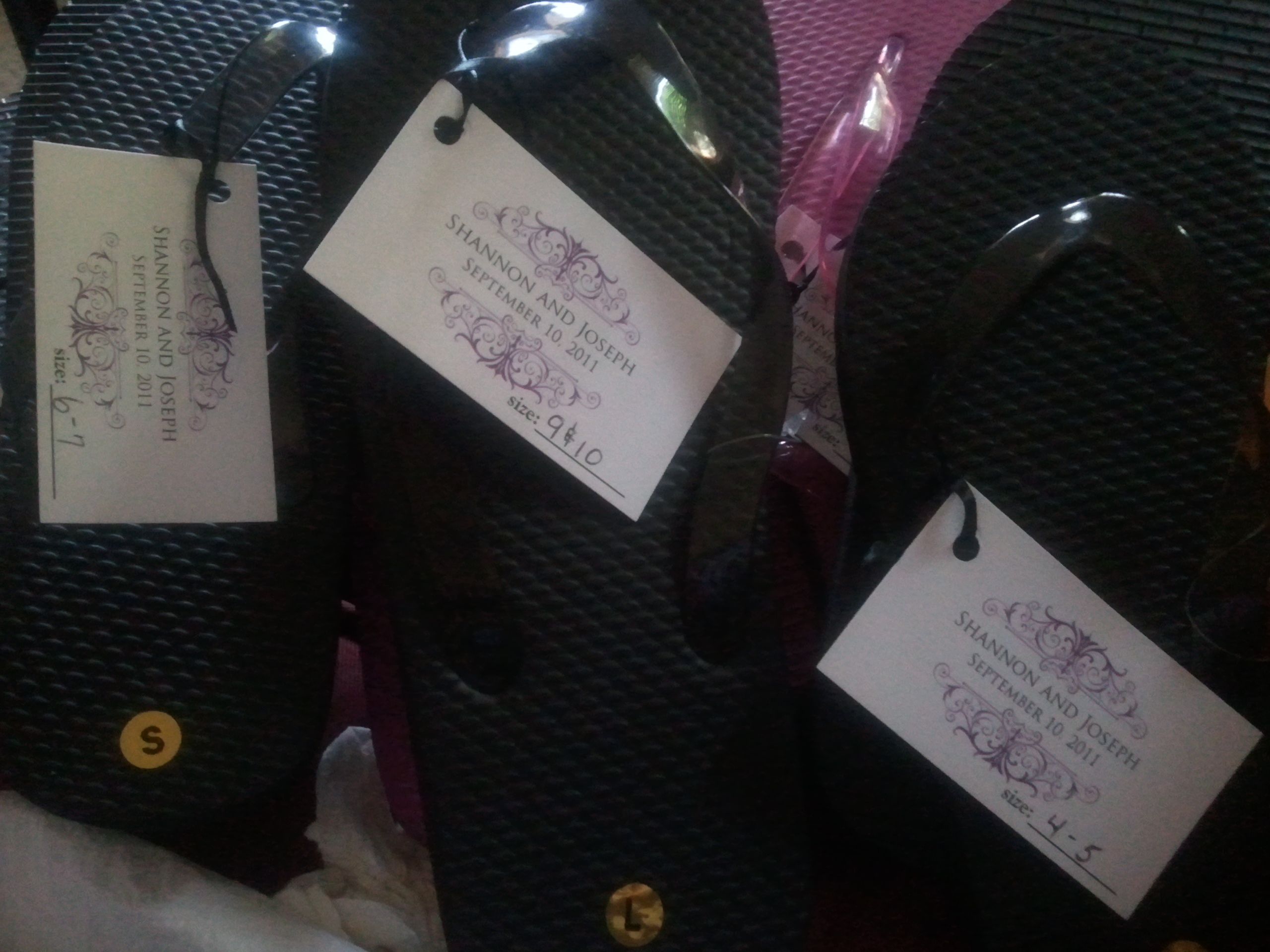 Reception, Flowers & Decor, Favors & Gifts, Shoes, Fashion, white, purple, black, Favors, Basket, Flip, Flop, Tagsmahoganieyes