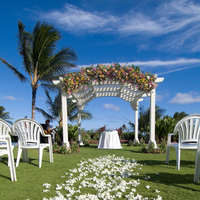 Ceremony, Flowers & Decor, Destinations, Venues, white, blue, gold, Hawaii, Beach, Beach Wedding Flowers & Decor, Wedding