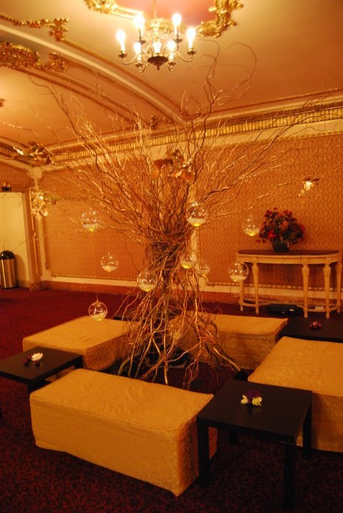 Reception, Flowers & Decor, white, red, purple, gold, Flowers, Cocktail, Tree, Lounge, Area
