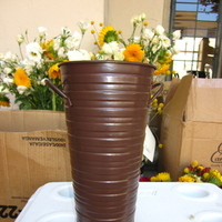 Ceremony, Reception, Flowers & Decor, Decor, brown, Ceremony Flowers, Flowers, Flower, Vase, Tin, Altar