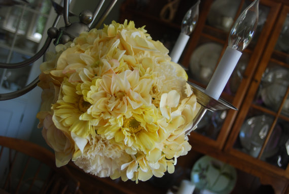 Flowers & Decor, white, yellow, Bride Bouquets, Flowers, Bouquet, Wedding, Bridal, Florist, Silk