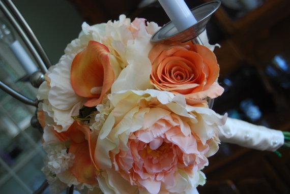 Flowers & Decor, white, orange, Bride Bouquets, Flowers, Bouquet, Wedding, Bridal, Florist, Silk