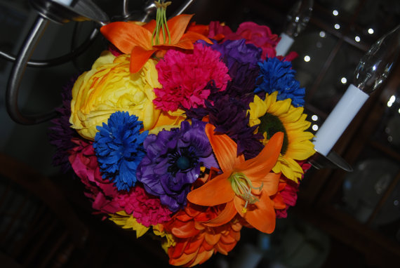 Flowers & Decor, yellow, orange, pink, purple, blue, green, Bride Bouquets, Flowers, Bouquet, Wedding, Bridal, Florist, Silk