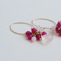 Jewelry, pink, Earrings, Bridesmaid, Cluster, Blustarfruit