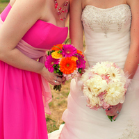 Flowers & Decor, Bridesmaids, Bridesmaids Dresses, Fashion, orange, pink, Bridesmaid Bouquets, Flowers, Flower Wedding Dresses