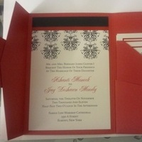 Stationery, white, red, black, Invitations, Damask