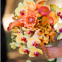 Ceremony, Flowers & Decor, yellow, orange, Ceremony Flowers, Bride Bouquets, Flowers, Bouquet, Orchid