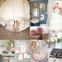 pink, blue, gold, Inspiration board