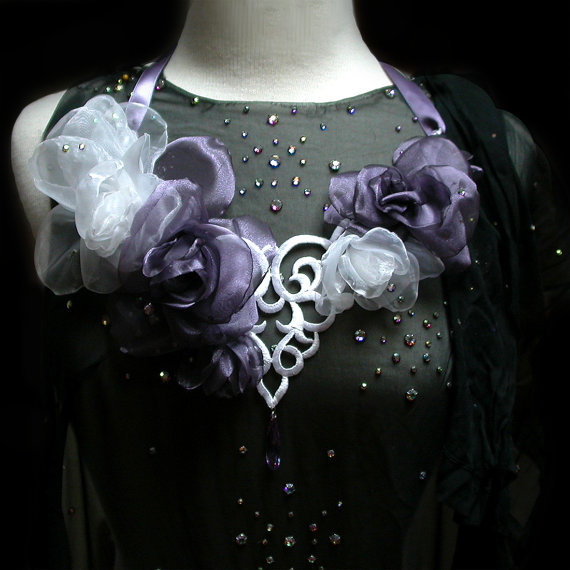 Jewelry, white, purple, Necklaces, Bride, Wedding, Necklace, Lavender, Organza, Statement