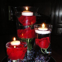 Reception, Flowers & Decor, Centerpieces, Roses, Centerpiece, Submerged