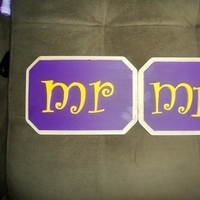 Reception, Flowers & Decor, yellow, purple, And, Mr, Mrs, Signs