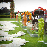 Ceremony, Flowers & Decor, orange, green, gold, Ceremony Flowers, Aisle Decor, Flowers, Aisle