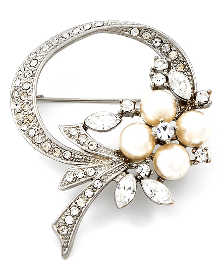Jewelry, silver, Brooches, Vintage, Bridal, Pearls, Brooch, Inspired