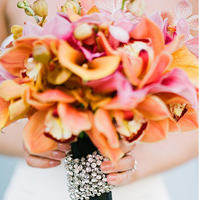 Flowers & Decor, orange, pink, gold, Flowers