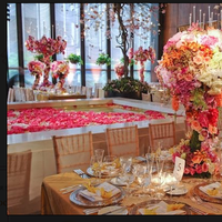 Reception, Flowers & Decor, orange, pink, green, gold, Centerpieces, Flowers
