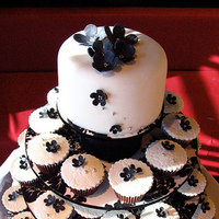 Reception, Flowers & Decor, Cakes, white, black, cake