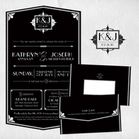 Stationery, white, black, Invitations