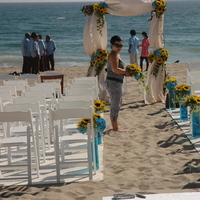 Ceremony, Flowers & Decor, white, yellow, blue, Beach, Ceremony Flowers, Flowers, Beach Wedding Flowers & Decor, Wedding