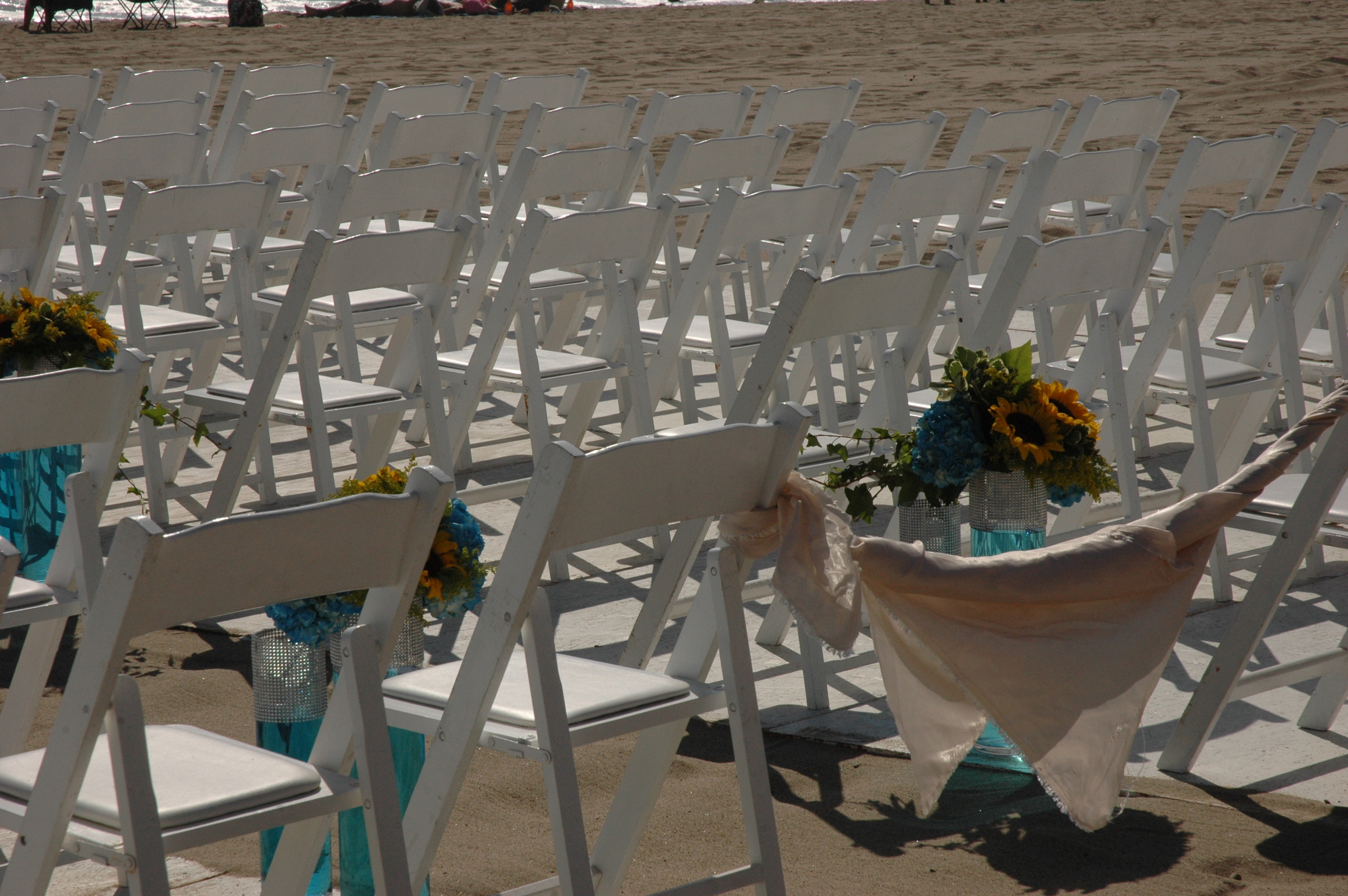 Ceremony, Flowers & Decor, white, blue, Beach, Beach Wedding Flowers & Decor, Wedding, Up, Set
