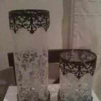 white, black, Centerpiece, Candle, Damask, Holder