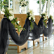Ceremony, Flowers & Decor, white, black, Tulle, Aisleway