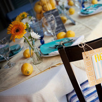 Reception, Flowers & Decor, yellow, blue