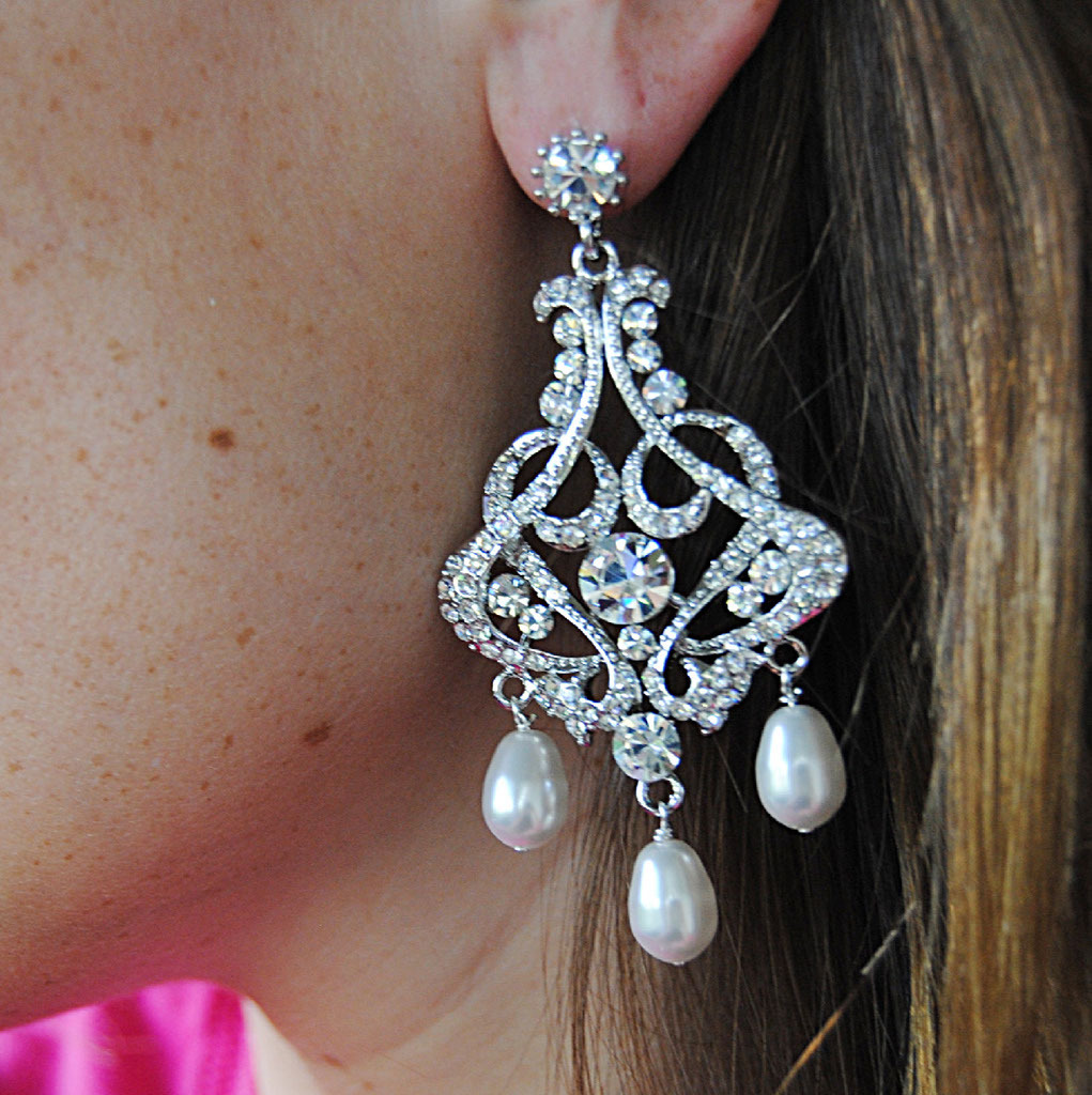 Jewelry, Earrings, Bridal, Chandelier, Blustarfruit
