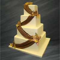 Cakes, white, brown, gold, cake