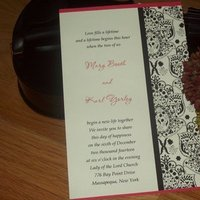 Stationery, white, red, black, Invitations, Wedding, Custom, Personalized, Damask