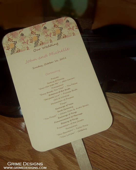Stationery, pink, Ceremony Programs, Programs, Wedding, Custom, Floral, Fan, Personalized