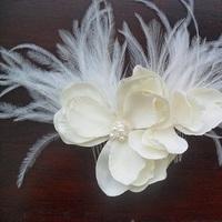 Beauty, Flowers & Decor, Jewelry, ivory, Flowers, Hair, Swarovski, Pearl, Fascinator