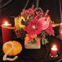 Reception, Flowers & Decor, yellow, orange, red, brown, gold, Inspiration board