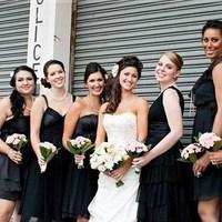 Beauty, Flowers & Decor, Bridesmaids, Bridesmaids Dresses, Wedding Dresses, Fashion, white, black, dress, Bridesmaid Bouquets, Flowers, Hair, Flower Wedding Dresses