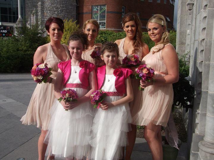 Beauty, Flowers & Decor, Bridesmaids, Bridesmaids Dresses, Wedding Dresses, Fashion, pink, dress, Bridesmaid Bouquets, Flowers, Hair, Inspiration board, Flower Wedding Dresses