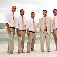 white, brown, Beach, Groomsmen, Casual