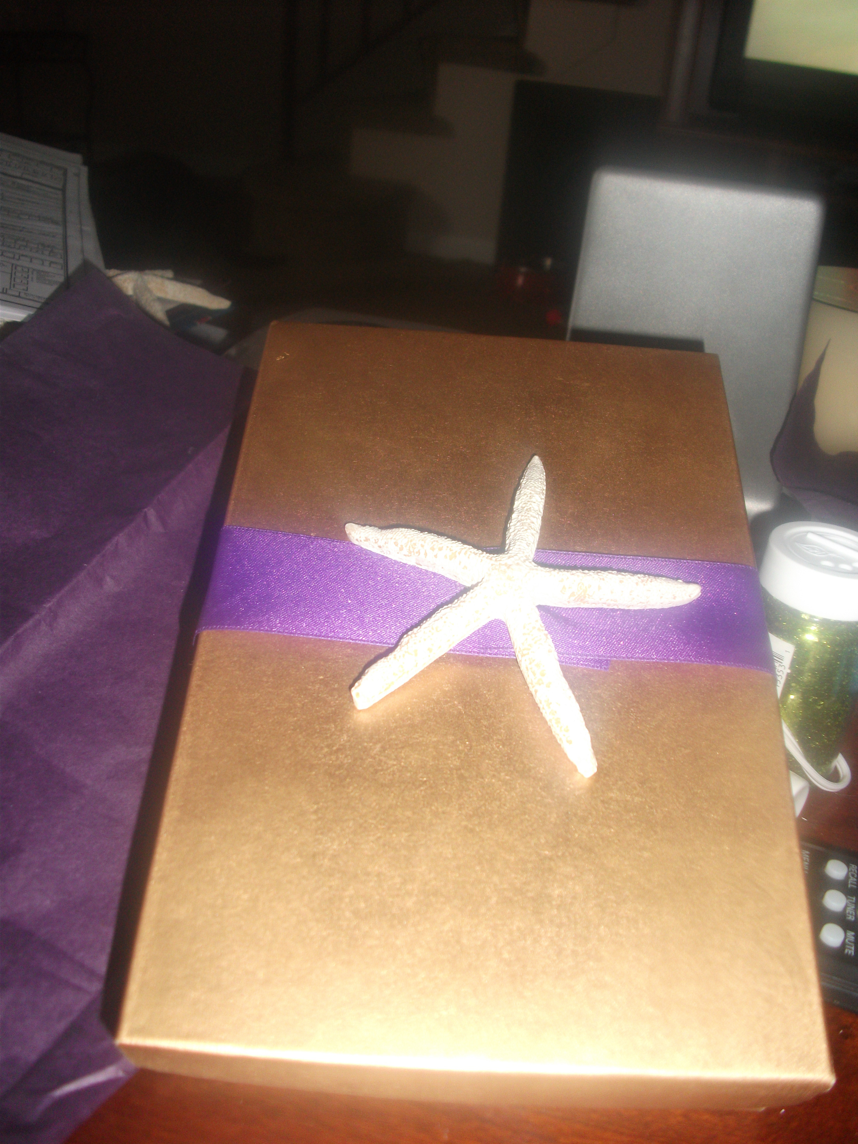 Stationery, purple, gold, Invitations, Starfish, Box, Invites