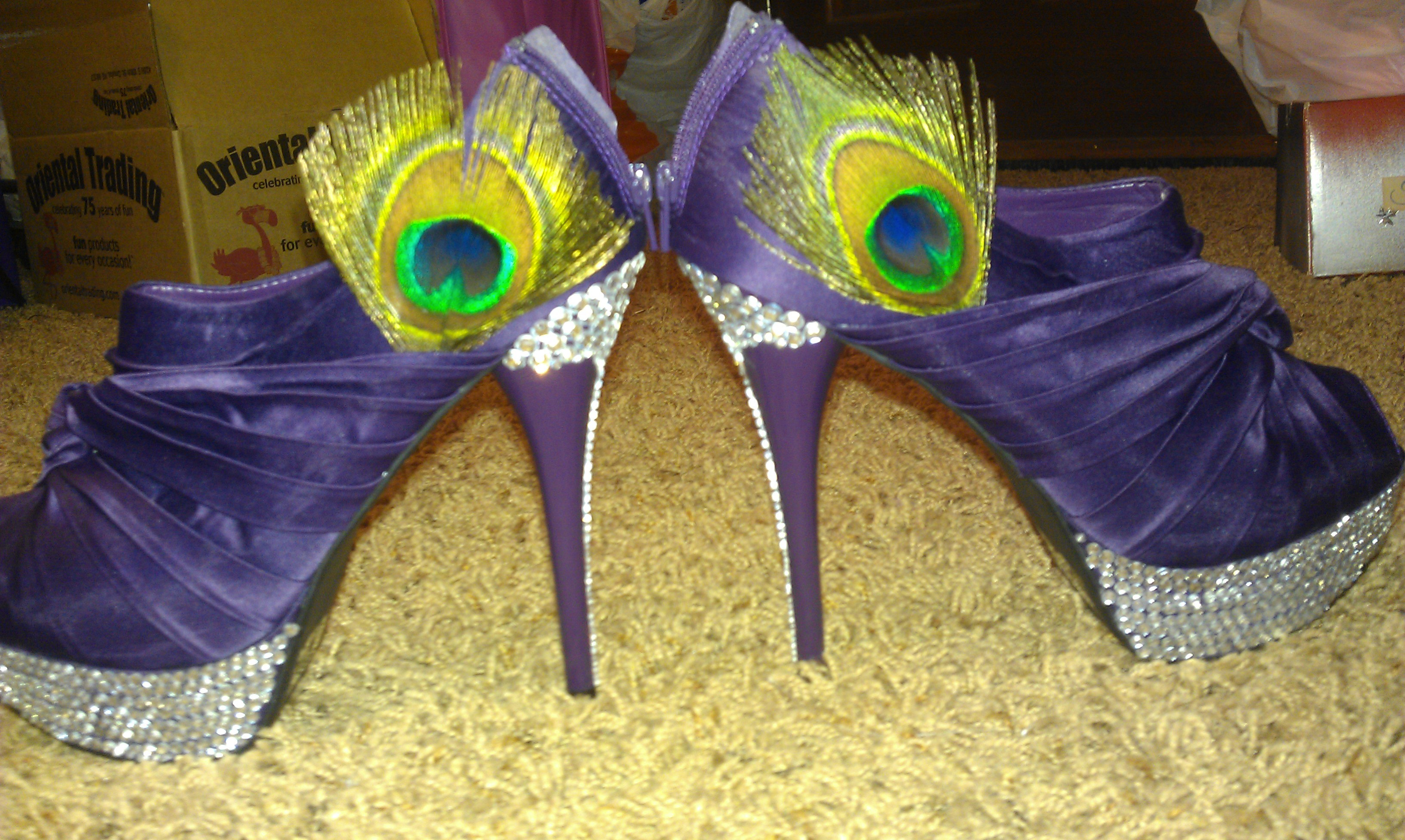 Shoes, Fashion, purple, Peacock, Rhinestone, Bling, Platforms