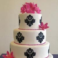 Reception, Flowers & Decor, Cakes, pink, black, cake